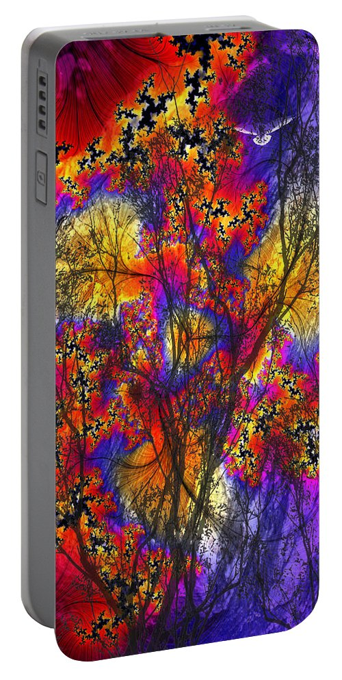Forest Fire Portable Battery Charger featuring the digital art Forest Fire by Lisa Yount