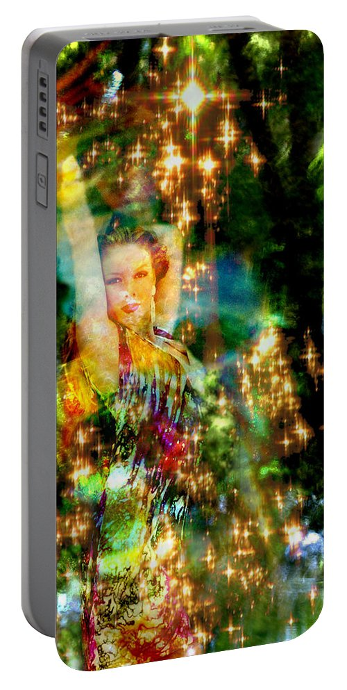 Forest Portable Battery Charger featuring the digital art Forest Goddess 4 by Lisa Yount