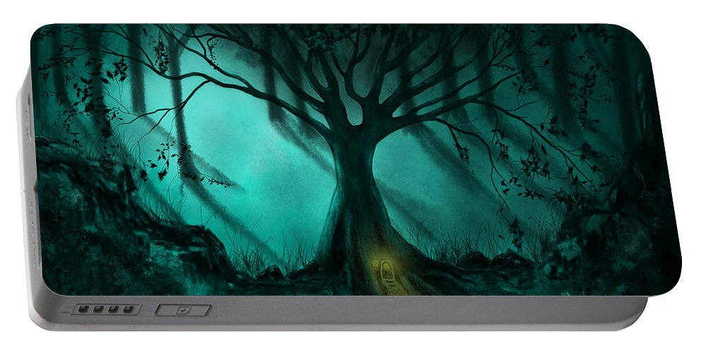 Ethereal Portable Battery Charger featuring the painting Forest Light Ethereal Fantasy Landscape by Michelle Wrighton