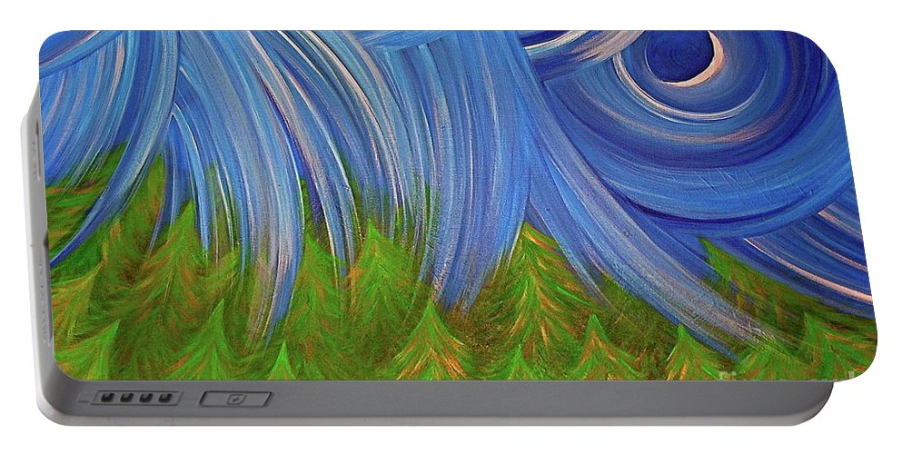 Jrr Portable Battery Charger featuring the painting Forest Rain By Jrr by First Star Art
