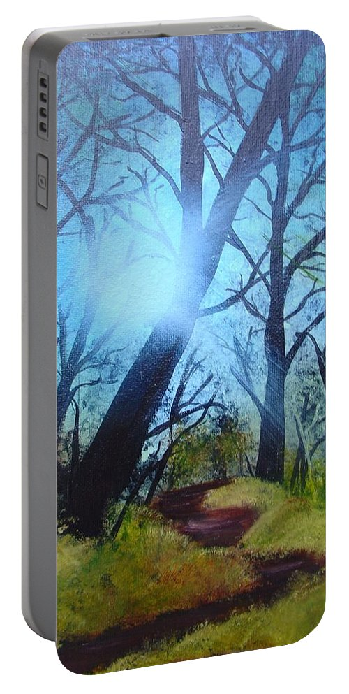 Painting Portable Battery Charger featuring the painting Forest Sunlight by Charles and Melisa Morrison