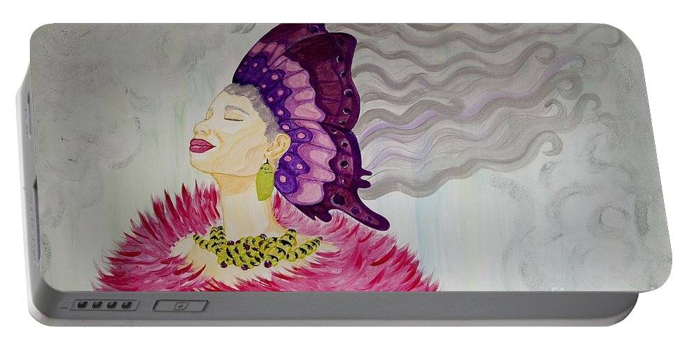 Aliya Michelle Portable Battery Charger featuring the painting Forever Evolving by Aliya Michelle