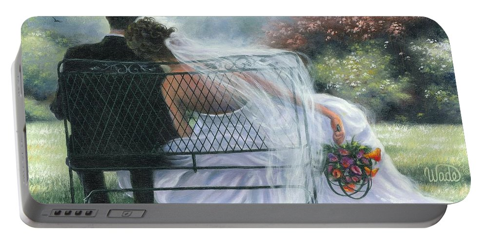 Bride And Groom Portable Battery Charger featuring the painting Forever Love by Vickie Wade