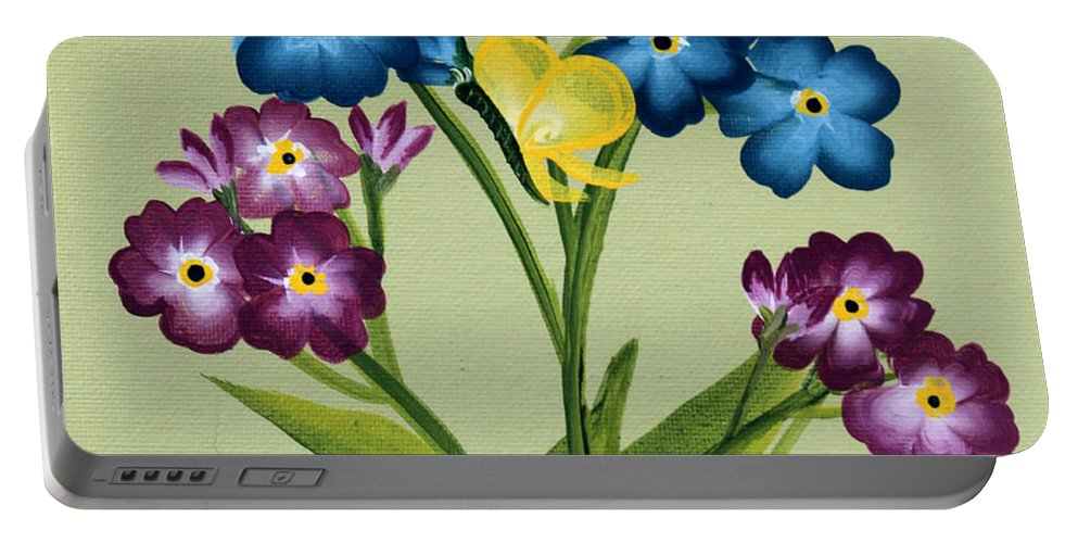 Barbara Griffin Portable Battery Charger featuring the painting Forget Me Nots And Butterflies by Barbara Griffin