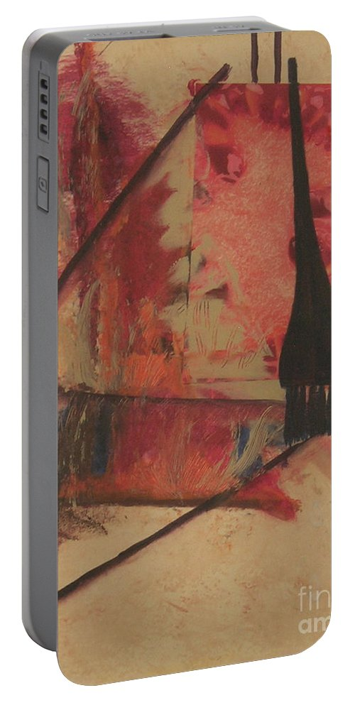 Abstract Portable Battery Charger featuring the painting Forgive My Tears by Mini Arora