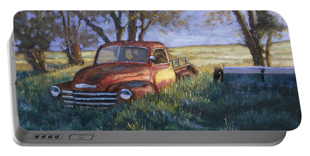 Pickup Truck Portable Battery Charger featuring the painting Forgotten But Still Good by Jerry McElroy