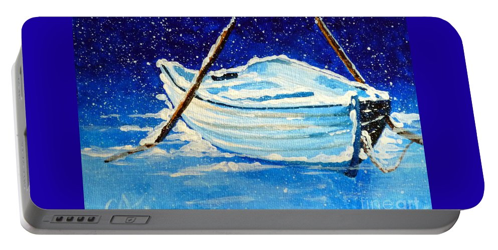 Row Portable Battery Charger featuring the painting Forgotten Rowboat by Jackie Carpenter