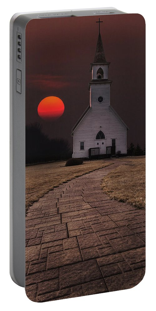 Church Portable Battery Charger featuring the photograph Fort Belmont Sunset by Aaron J Groen