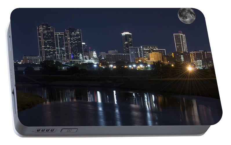 Fort Worth Skyline Portable Battery Charger featuring the photograph Fort Worth Skyline Super Moon by Jonathan Davison