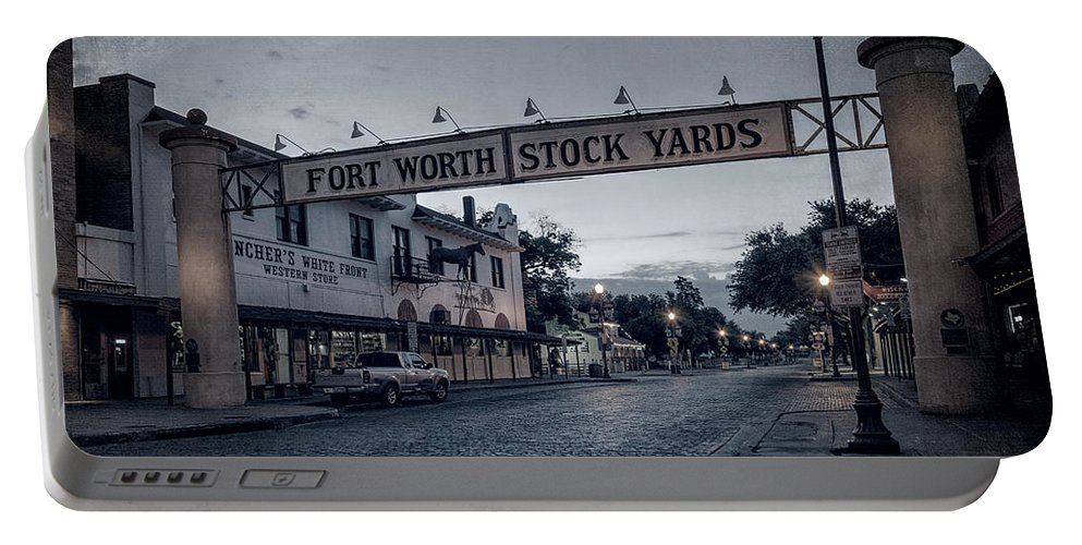 Joan Carroll Portable Battery Charger featuring the photograph Fort Worth Stockyards Bw by Joan Carroll