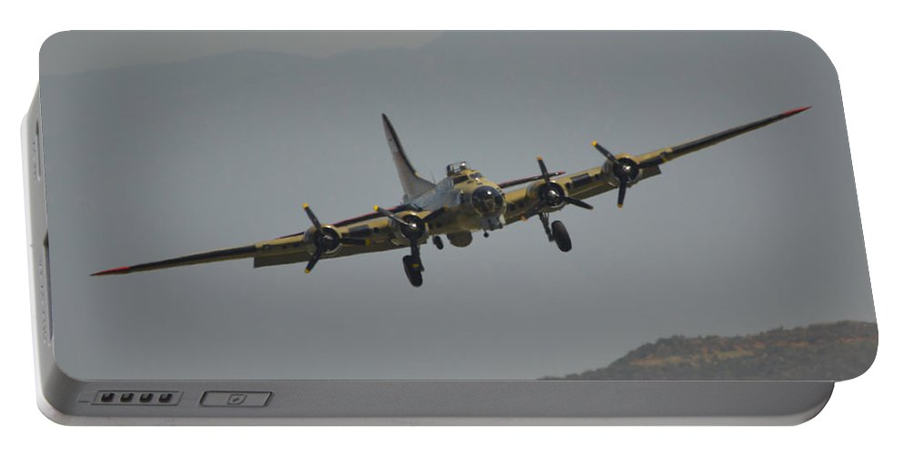 Boeing B-17g Flyingfortress Portable Battery Charger featuring the photograph Fortress On Approach by Tommy Anderson
