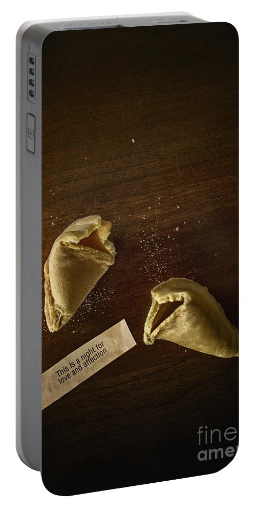 Fortune; Cookie; Fortune Cookie; Proverb; Chinese; Food; Broke; Broken; Paper; Table; Dessert; Treat; Love; Affection; Prediction; Predict; Chance; Crumbs; Print; Printed; Paper; Fun; Hope; Desire; Words Portable Battery Charger featuring the photograph Fortune by Margie Hurwich