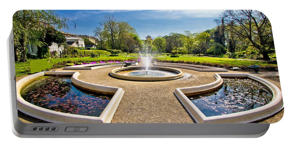 Zagreb Portable Battery Charger featuring the photograph Fountain And Park In Zagreb by Brch Photography