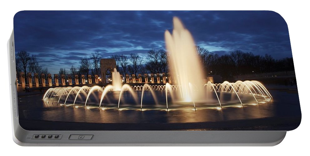 United States Portable Battery Charger featuring the photograph Fountain At Night World War II Memorial Washington Dc by Carol VanDyke