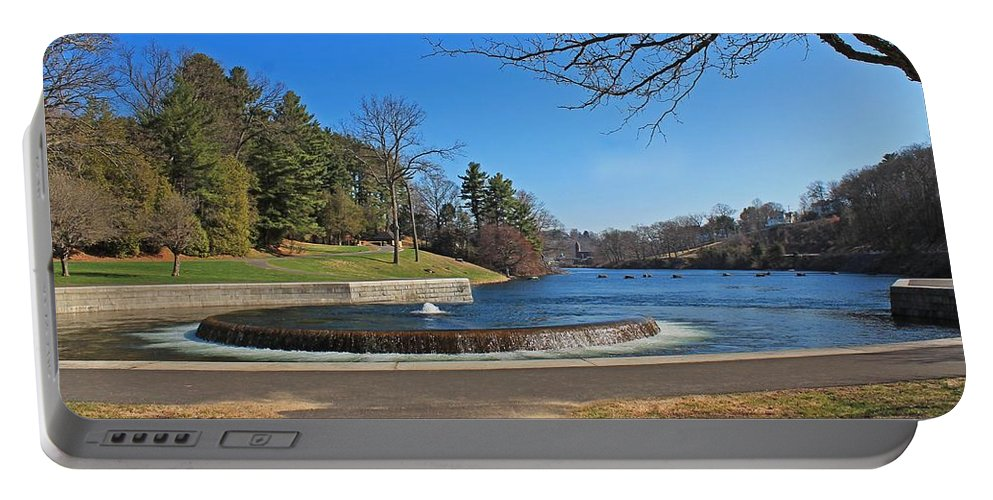 Fountain Portable Battery Charger featuring the photograph Fountain At Wachusett Dam by Michael Saunders
