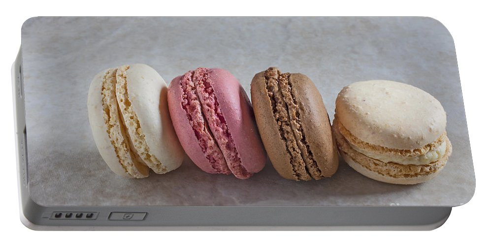 Macaroons Portable Battery Charger featuring the photograph Four Macarons In A Row by Liz Leyden