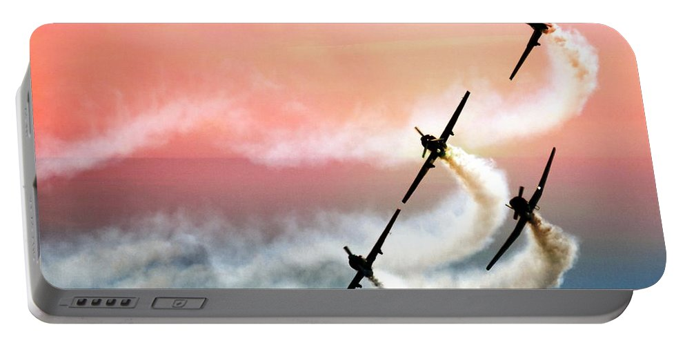 Air Show Planes Portable Battery Charger featuring the photograph Four On A Curve by Alice Gipson