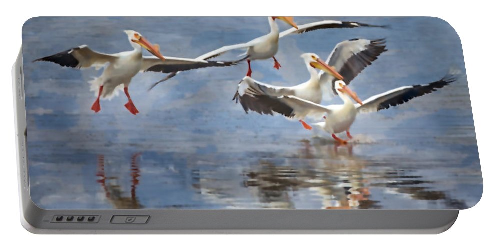 White Pelican Portable Battery Charger featuring the photograph Four Pelican Landing Watercolor Effect by Martin Belan