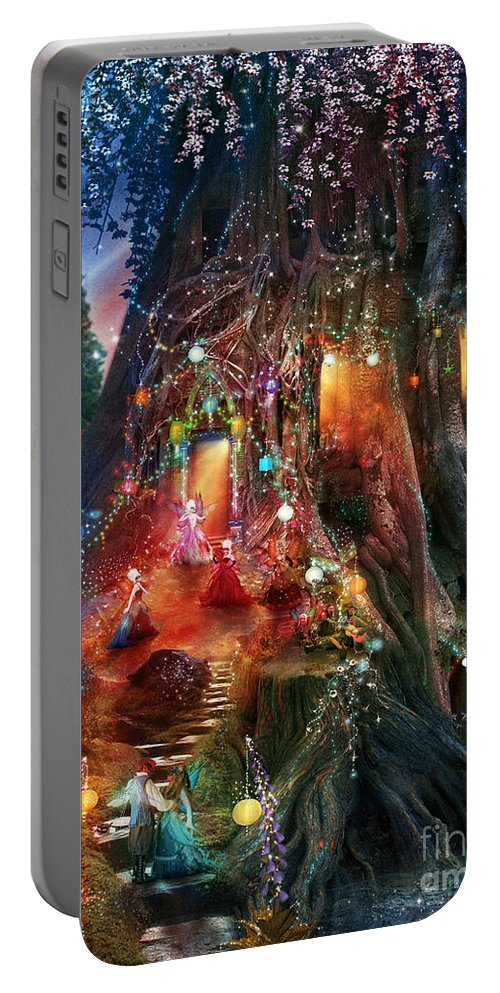 Tree Portable Battery Charger featuring the digital art Foxglove Ball by MGL Meiklejohn Graphics Licensing