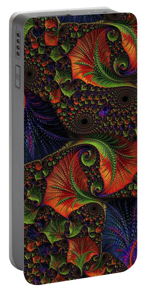 Digital Art Portable Battery Charger featuring the digital art Fractal Embroidery by Amanda Moore