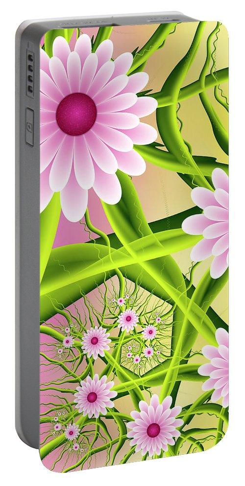 Digital Art Portable Battery Charger featuring the digital art Fractal Fantasy Neon Flower Garden by Gabiw Art