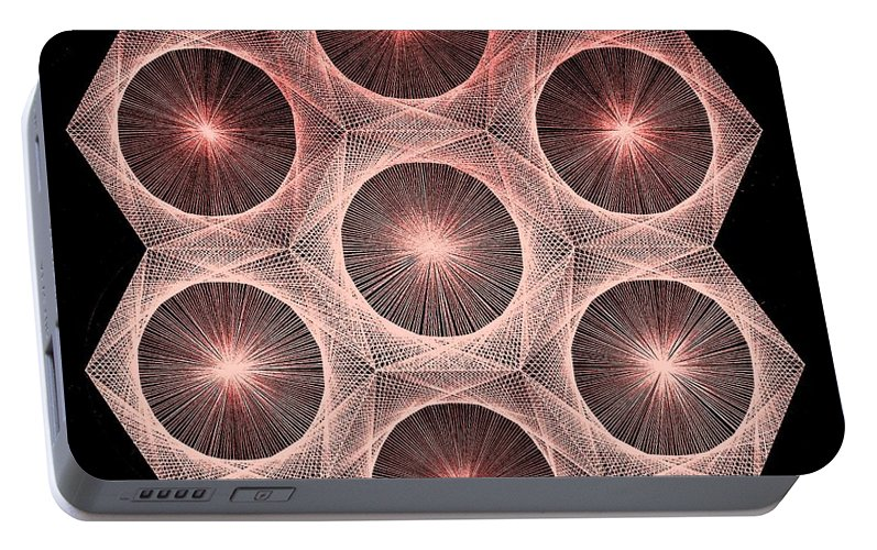 Fusion Portable Battery Charger featuring the drawing Fractal Fusion Hw Equals Mc Squared by Jason Padgett