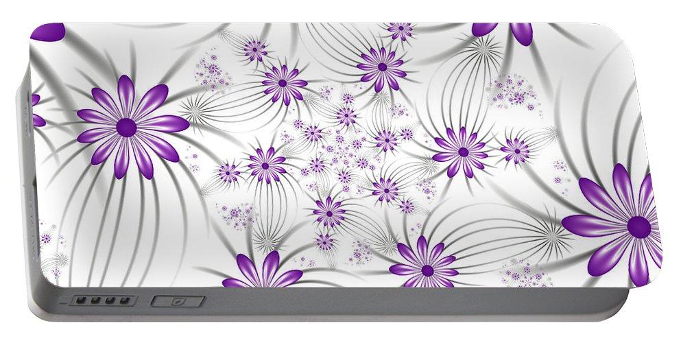 Digital Art Portable Battery Charger featuring the digital art Fractal Purple Flowers by Gabiw Art