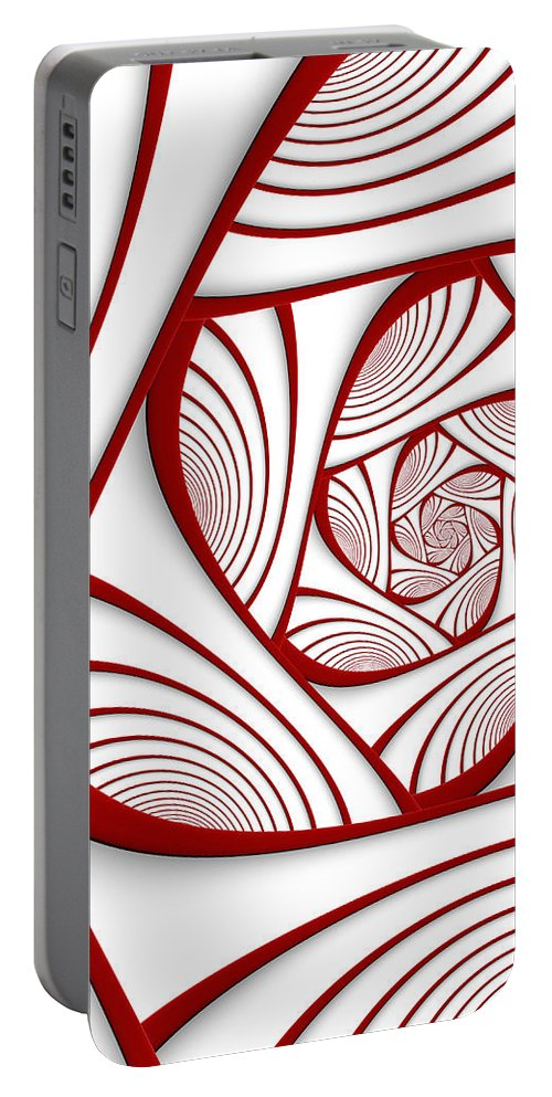 Fractal Portable Battery Charger featuring the digital art Fractal Red And White by Gabiw Art