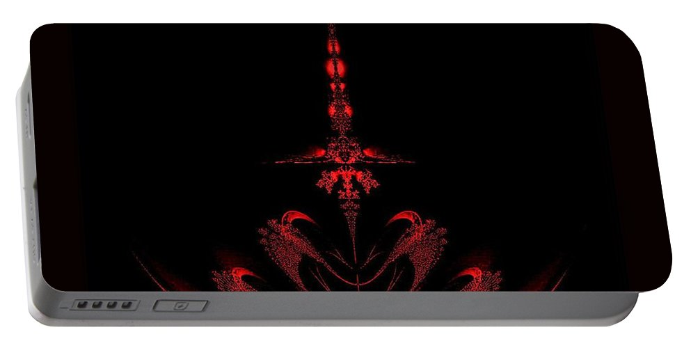 Fractal Red Portable Battery Charger featuring the digital art Fractal Red by Maria Urso