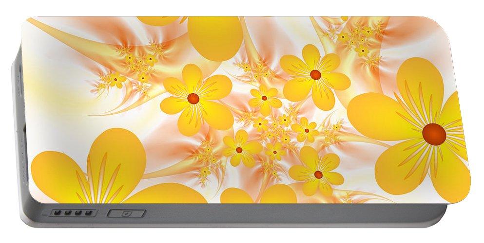 Digital Art Portable Battery Charger featuring the digital art Fractal Yellow Flowers by Gabiw Art
