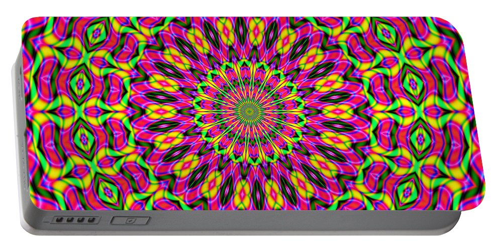 Fractals Portable Battery Charger featuring the digital art Fractalscope 7 by Rose Santuci-Sofranko
