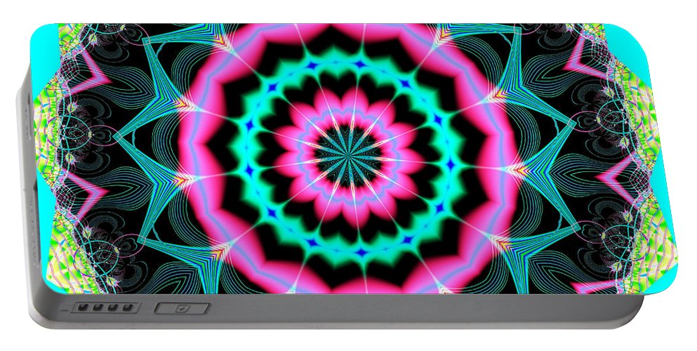 Fractals Portable Battery Charger featuring the digital art Fractalscope 8 by Rose Santuci-Sofranko