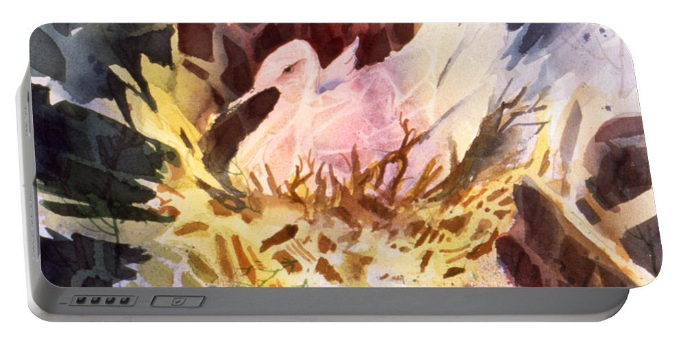 Fractured Fowl Portable Battery Charger featuring the painting Fractured Fowl by Teresa Ascone