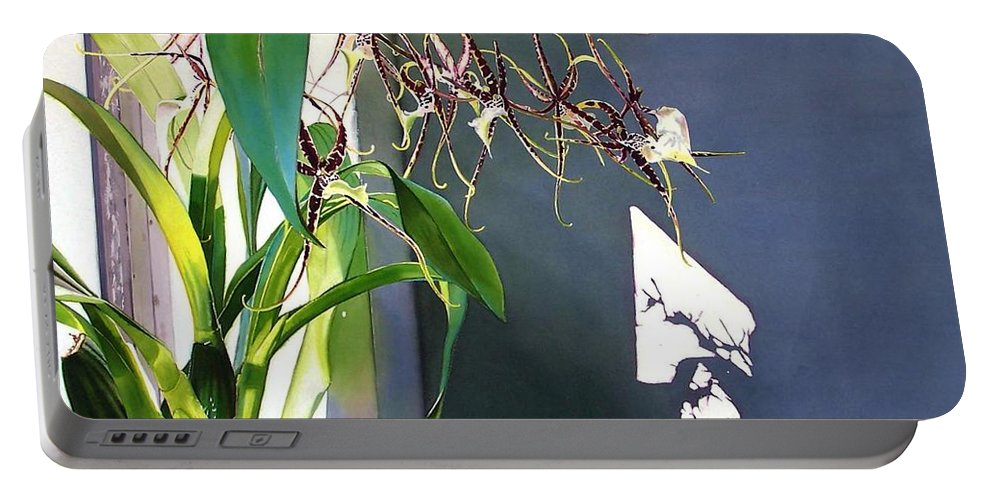 Plant Portable Battery Charger featuring the painting Frailty by Denny Bond