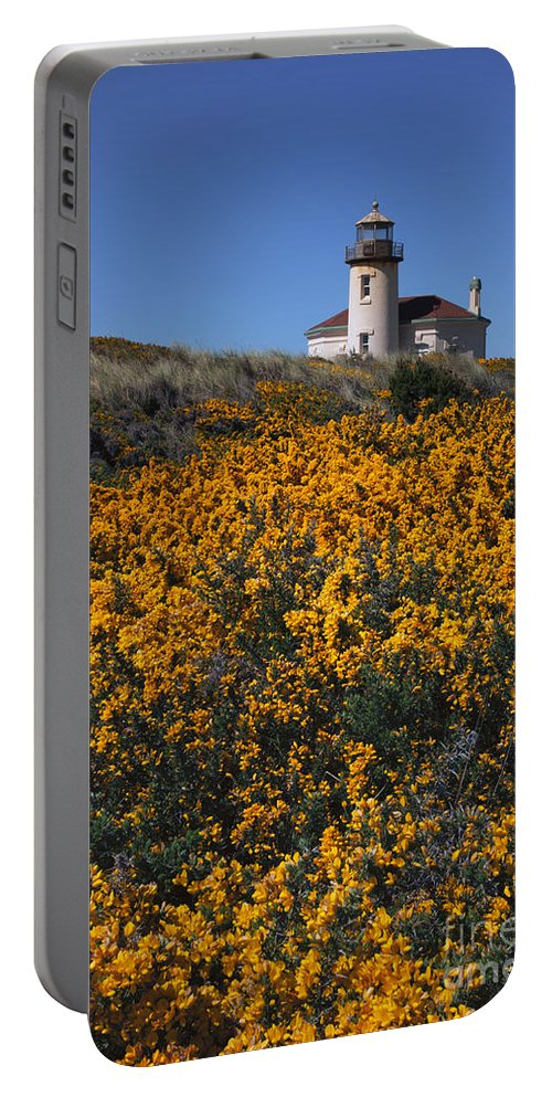 Coquile River Lighthouse Portable Battery Charger featuring the photograph Framed With Gold by Mike Dawson