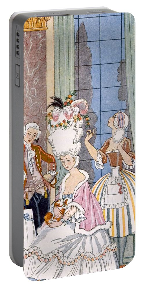 Stencil Portable Battery Charger featuring the painting France In The 18th Century by Georges Barbier