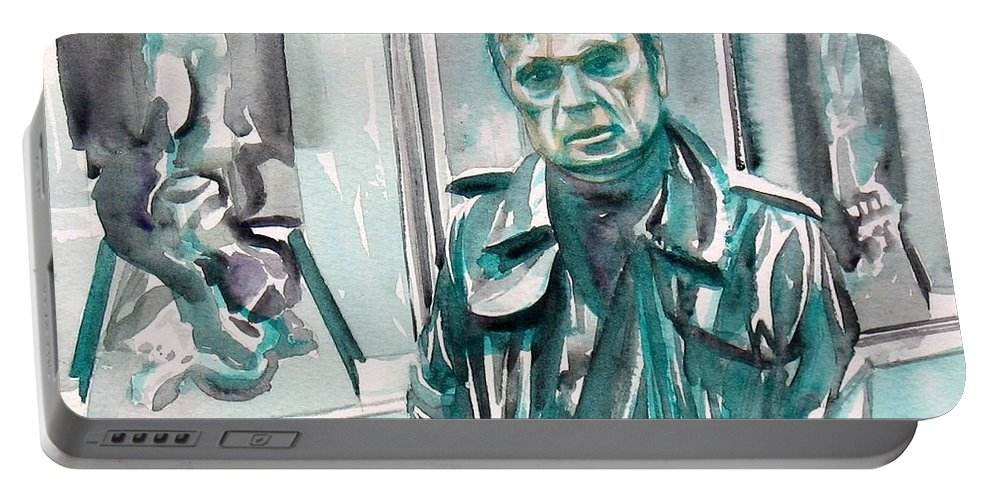Bacon Portable Battery Charger featuring the painting Francis Bacon Watercolor Portrait.3 by Fabrizio Cassetta