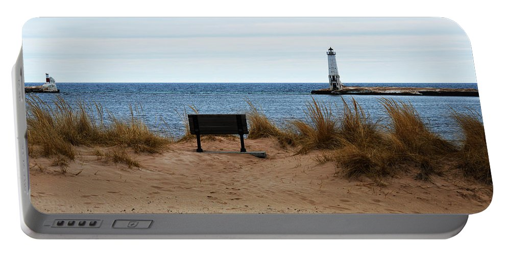 Frankfort Michigan Portable Battery Charger featuring the photograph Frankfort Shore by Linda Kerkau