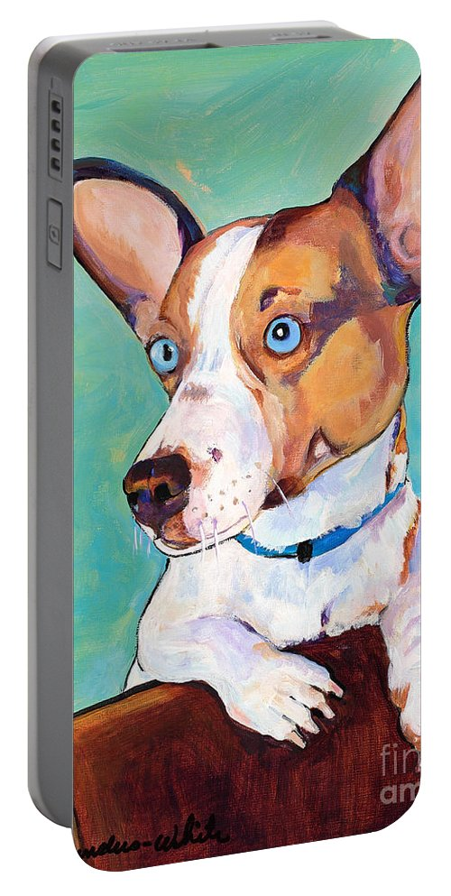 Pat Saunders-white Portable Battery Charger featuring the painting Frankie by Pat Saunders-White