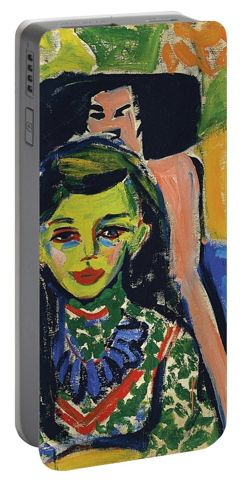1910 Portable Battery Charger featuring the painting Franzi In Front Of Carved Chair by Ernst Ludwig Kirchner