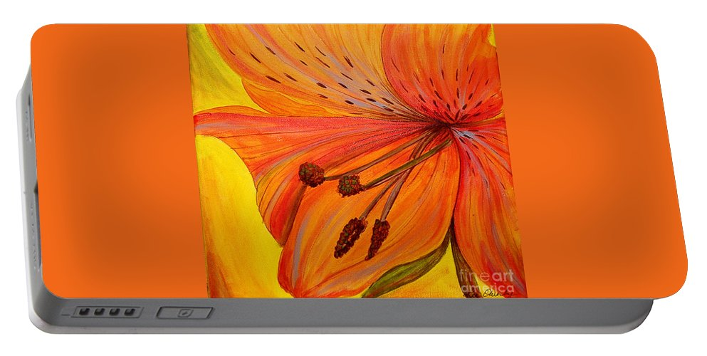 Portable Battery Charger featuring the painting Freckles On Orange by Lee Owenby