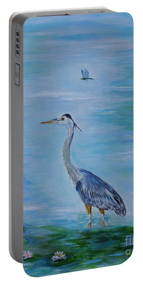 Heron Portable Battery Charger featuring the painting Free Spirit Blue Heron by Leslie Allen