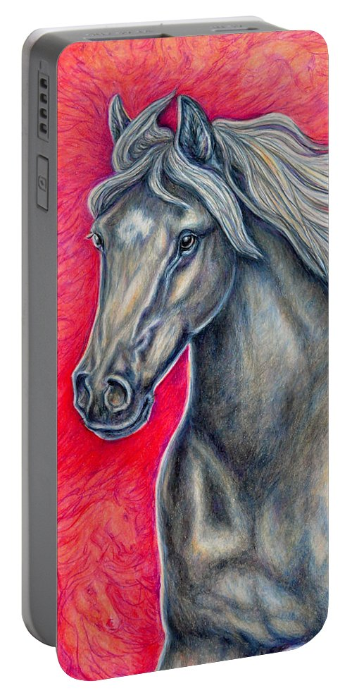 Animal Horse Nature Stallion Bronze Red Portable Battery Charger featuring the painting Free Spirit by Gail Butler