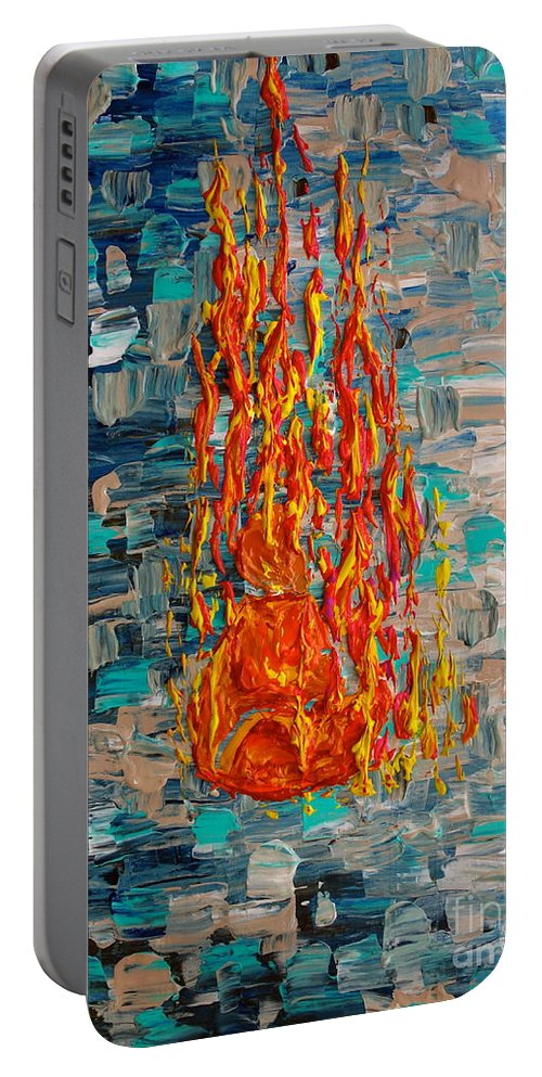 Self Immolated Portable Battery Charger featuring the painting Free Tibet by Jacqueline Athmann