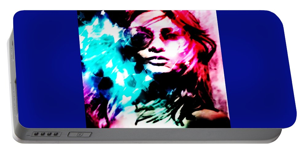 Freedom Rush Portable Battery Charger featuring the digital art Freedom Rush by Catherine Lott