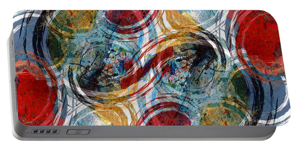Abstract Portable Battery Charger featuring the digital art Freedom by Ruth Palmer