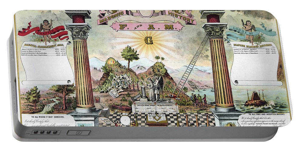 1870s Portable Battery Charger featuring the photograph Freemason Emblematic Chart by Granger