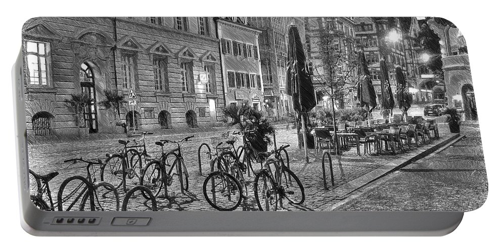 Architecture Portable Battery Charger featuring the painting Freiburg Road Homes by Dean Wittle