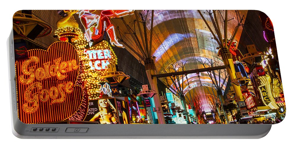 Las Vegas Portable Battery Charger featuring the photograph Fremont Street Experience Lights by Angus Hooper Iii