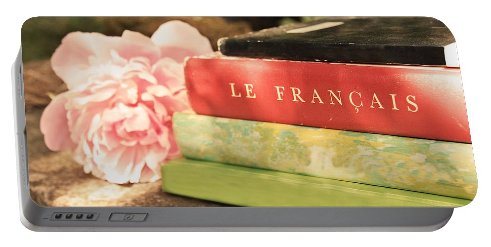 French Books Portable Battery Charger featuring the photograph French Books And Peony by Brooke T Ryan
